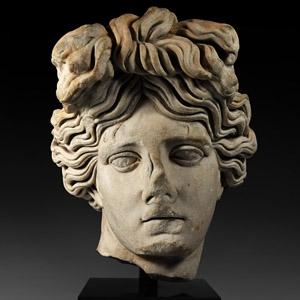 Monumental Roman Marble Head of Apollo Giustiniani