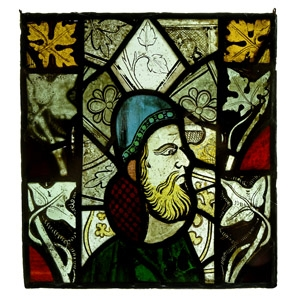 Medieval English Portrait in Stained Glass Window Panel