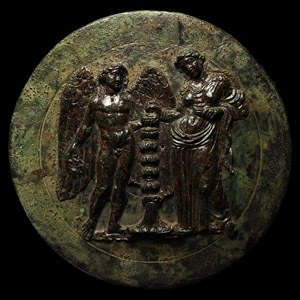 Greek Mirror with Aphrodite and Eros