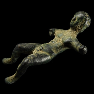 Etruscan Statuette of a Reclined Male with Inscription
