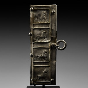 Urartu Silver Belt Plaque with Marching Lions