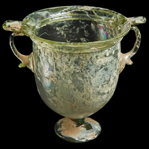Pale Green Glass Stemmed Cup