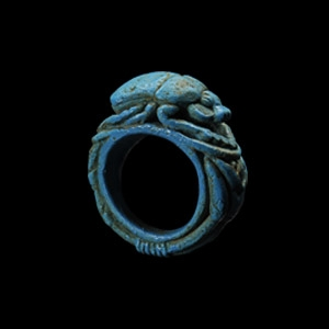 Blue Faience Scarab Ring