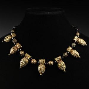 Etruscan Garnet and Gilt Silver Pendant Necklace