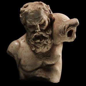 Roman Marble Silenus Carrying an Askos
