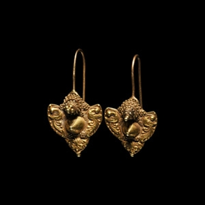 Gold Earrings with Peacocks