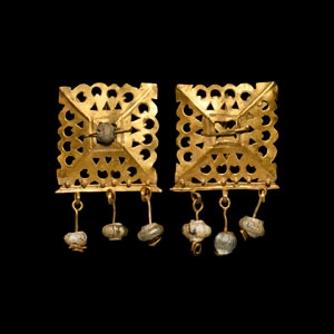 Gold Earrings with Pearl Drops