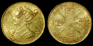 English Milled Anne - 1711 - Gold Guinea