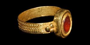 Roman Standing Figure Intaglio Gold Ring