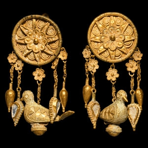 Gold and Enamel Earrings with Birds and Flowers