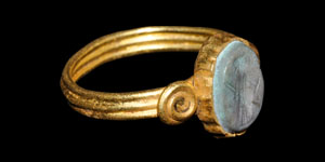 Roman Standing Warrior Intaglio Gold Ring