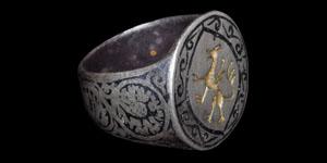 Medieval Silver Engraved Rampant Beast Ring