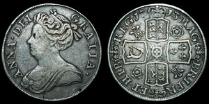 English Milled Anne - 1713 - Crown