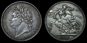 English Milled George IV - 1821 SECUNDO - Crown