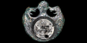 Roman Bronze and Silver Figural Mount
