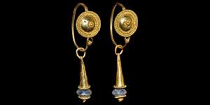 Roman Pair of Gold Drop Earrings