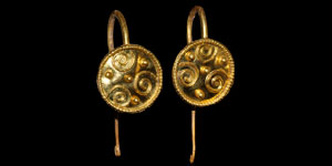 Byzantine Pair of Gold Disc Earrings