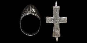 Byzantine Archers Ring and Inscribed Cross Pendant
