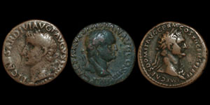 Roman Empire - Tiberius, Vespasian and Domitian - Bronzes