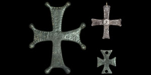 Byzantine Silver and Bronze Cross Mounts