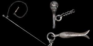 Roman Silver Figural Hair Pin & Chain
