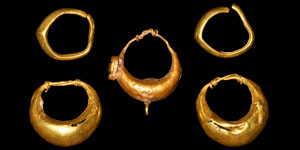 Greek Two Pairs and a Single Gold Earrings
