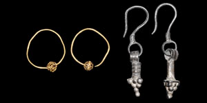 Byzantine Pair of Gold and Pair of Silver Earrings