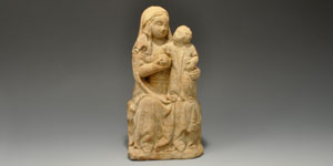 Medieval Limestone Madonna with Child and Orb Figurine