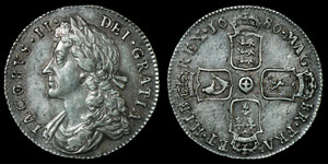 English Milled James II - 1686 - Shilling