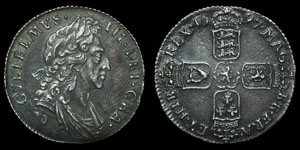 English Milled William III - 1697 - Shilling