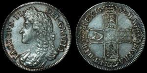 English Milled James II - 1687 Tertio - Crown