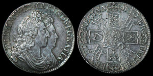 English Milled William and Mary - 1692/2 Quinto - Crown