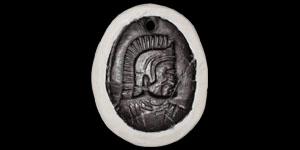 Greek Glass Corinthian Helmet Intaglio