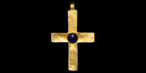 Byzantine Gold and Sapphire Pendant Cross