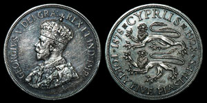 World Cyprus - George V - Proof 1928 - 45 Piastres