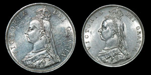 English Milled Victoria - 1889 & 1887 - Double Florin and Halfcrown [2]