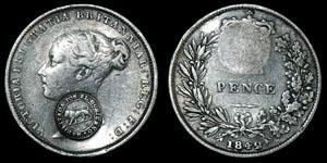Costa Rica - 1889 Countermark on English Victoria 1842 Sixpence