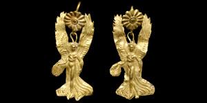 Greek Nike Gold Earrings