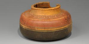 Egyptian Painted Wood Vessel