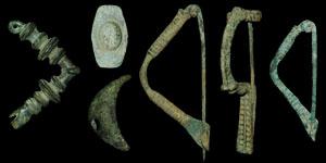 Roman - Five Brooches and Shield Belt Stud