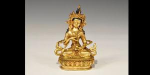 Chinese Tibetan Style Gilt-Bronze Sitting Buddha