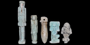 Egyptian Blue and Grey Composition Amulets