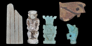 Egyptian Five Blue and Brown Composition Amulets