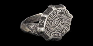 Medieval Silver Engraved Two Fishes Ring