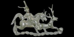 Chinese Bronze Hunting Scene Mount
