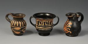 Greek Xenon Ware Black Glazed Kantharos, Thistle Mug and Oinochoai