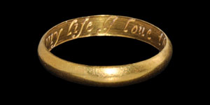 Post Medieval As my life I love thee Gold Posy Ring