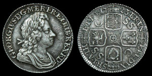 English Milled George I - 1723 - SSC Shilling