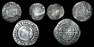 English Tudor - Henry VII Halfgroat, Elizabeth I Sixpence 1569 and Halfgroat