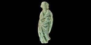 Medieval Figural Bronze Saint Mount